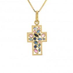 1.25 Carat Blue & Pink Sapphire Cross Pendant 18K Yellow Gold