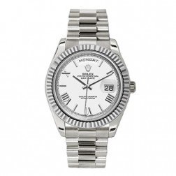 Rolex Day-Date 40 18K White Gold Watch White Roman Dial 228239