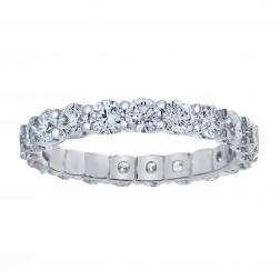 2.20 Carat Round Cut Diamond Eternity Band Ring 14k White Gold