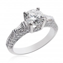 2.28 Carat I-SI1 Natural Round Cut Diamond Engagement Ring 14K White Gold