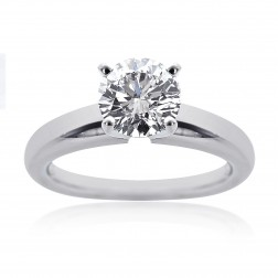 1.13 Carat G-VS2 Natural Round Cut Diamond Engagement Solitaire Ring Platinum
