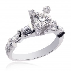 2.04 Carat D-SI1 Natural Round Diamond Designer Engagement Ring 18K White Gold