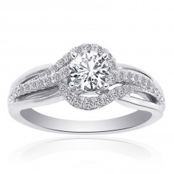 1.00 Carat Natural Round Diamond Swirl Halo Engagement Ring 14k White Gold