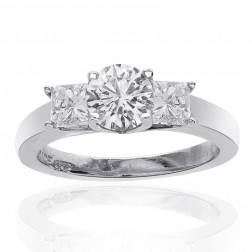 1.35 Carat H-SI2 Three Stone Natural Diamond Engagement Ring 14k