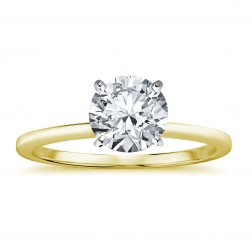1.12 Carat Round Brilliant Cut Diamond Solitaire Engagement Ring 14K Yellow Gold