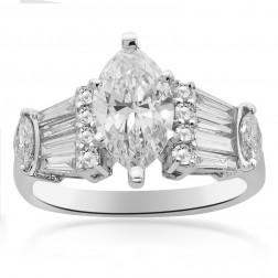 2.10 Carat F-VS1 Natural Marquise Shape Diamond Engagement Ring 18K White Gold