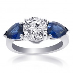 4.31 Carat G-SI2 Round Cut Diamond Blue Ceylon Sapphire Ring 14K White Gold