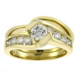 1.41 Carat Round Cut Tension Set Diamond Engagement Ring Set HDS Helzberg 14K