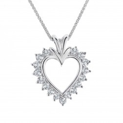 0.60 Carat Round Diamond Heart Pendant on Byzantine Link Chain 14K White Gold