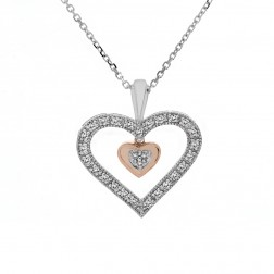 0.25 Carat Round Diamond Dangle Heart Pendant on Cable Link Chain 10K Two Tone Gold