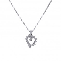 0.15 Carat Round Cut Diamond Heart Pendant on Cable Link Chain 14K White Gold