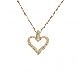 0.25 Carat Diamond Heart Pendant 10K Yellow Gold With 14K Yellow Gold Chain