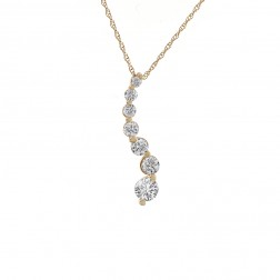 1.25 Carat Round Diamond Journey Pendant on Cable Link Chain 14K Yellow Gold