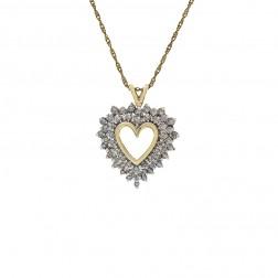 0.75 Carat Round Cut Diamond Heart Pendant on Wheat Link Chain 14K Yellow Gold