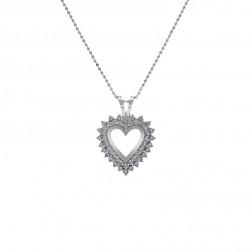 0.50 Carat Round Cut Diamond Heart Pendant on Ball Link Chain 14K White Gold