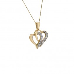 0.30 Carat Round Cut Diamond Double Heart Pendant on Box Link Chain 10K Yellow Gold