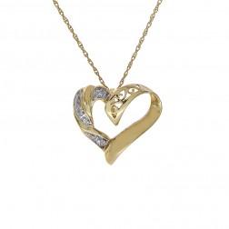0.01 Carat Round Diamond Heart Pendant on Rolo Link Chain 10K Yellow Gold