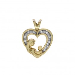 0.10 Carat Diamond Mother & Child Heart Pendant 10K Yellow Gold