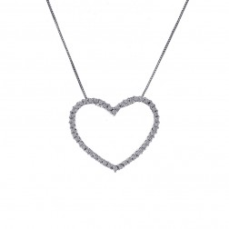 0.35 Carat Diamond Heart Pendant Necklace 10K White Gold