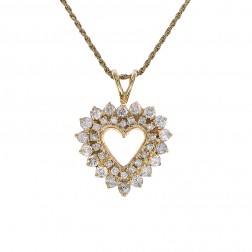 1.35 Carat Diamond Open Heart Pendant Necklace 14K Yellow Gold