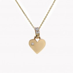 0.20 Carat Round Cut Diamond Puffy Heart Pendant Necklace 14K Yellow Gold