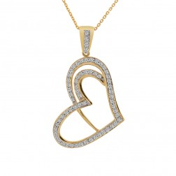 0.75 Carat Pavé Round Diamond Heart Pendant on Cable Link Chain 14K Yellow Gold