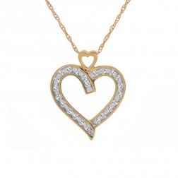 0.25 Carat Round Brilliant Diamond Heart Pendant on Wheat Link Chain 14K Yellow Gold