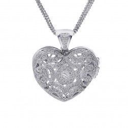 3.75 Carat Round & Baguette Diamond Heart Locket on Ball Link Chain 14K White Gold