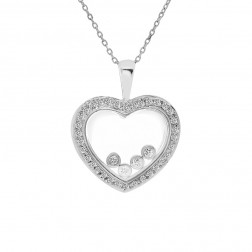 0.50 Carat Round Diamond Baubles Heart Pendant on Cable Chain 18K White Gold