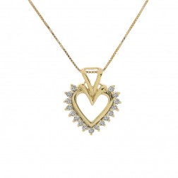 0.15 Carat Round Diamond Heart Pendant on Box Link Chain 14K Yellow Gold