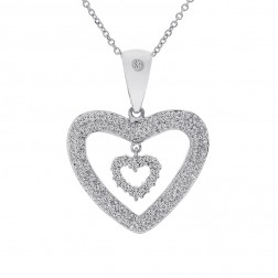 0.75 Carat Pavé Round Diamond Double Heart Pendant on Cable Chain 14K White Gold