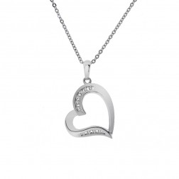 0.15 Carat Channel Set Round Diamond Heart Pendant on Cable Chain 10K White Gold
