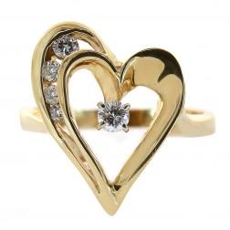 0.20 Carat Round Cut Diamond Heart Ring 14K Yellow Gold