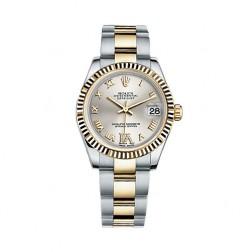 Rolex Datejust 31 Steel & 18K Yellow Gold Watch Silver Roman Diamond Dial 178273