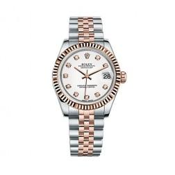 Rolex Datejust 31 Steel & 18K Everose Gold Watch White Diamond Dial 178271