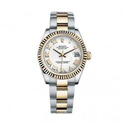 Rolex Datejust 31 Steel & 18K Yellow Gold Watch White Roman Dial 178273