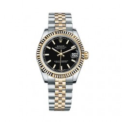 Rolex Datejust 31 Steel & 18K Yellow Gold Watch Black Index Dial 178273