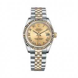 Rolex Datejust 31 Steel & 18K Yellow Gold Watch Champagne Roman Dial 178273