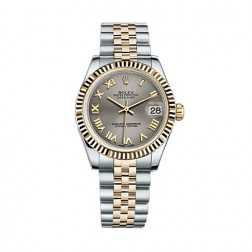 Rolex Datejust 31 Steel & 18K Yellow Gold Watch Steel Grey Roman Dial 178273