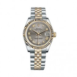 Rolex Datejust 31 Steel & 18K Yellow Gold Watch Silver Roman Dial 178273