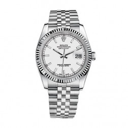Rolex Datejust 36 Steel & 18K White Gold Watch White Index Dial 116234