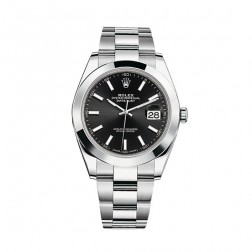 Rolex Datejust 41 Stainless Steel Watch Oyster Bracelet Black Dial 126300