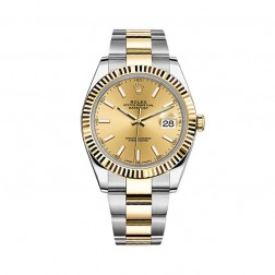 Rolex Datejust 41 Steel & 18K Yellow Gold Watch Oyster Bracelet Champagne Dial 126333