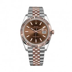 Rolex Datejust 41 Steel & 18K Everose Gold Watch Jubilee Bracelet Chocolate Index Dial 126331