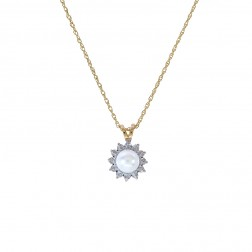 7mm Pearl With Diamond Accent Pendant Necklace 14K Yellow Gold