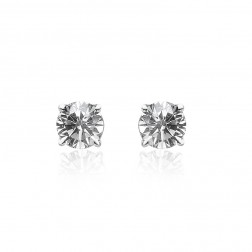 0.20 Carat Round Brilliant Cut Diamond H/SI3 Stud Earrings 14K White Gold