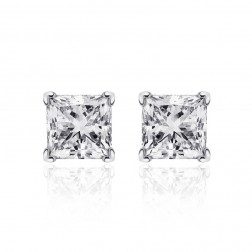 1.02 Carat Princess Cut Diamond G/VS1 Stud Earrings 14K White Gold