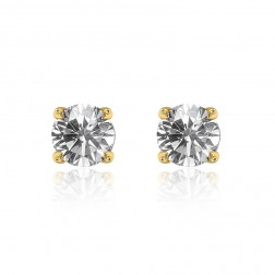 0.79 Carat Round Brilliant Cut Diamond J/SI1 Stud Earrings 14K Yellow Gold
