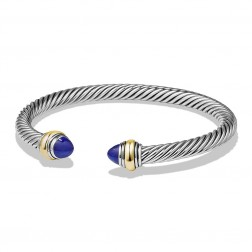 David Yurman Sterling Silver Cable Classic Bracelet With Lapis Lazuli And 14k Yellow Gold