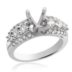 1.15 Carat Round Diamond Engagement Semi-Mounting 18K White Gold